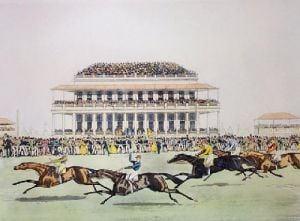 Race for Derby Stakes Epsom (Restrike Etching) by James Pollard