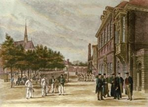 Marlborough College, The Court (Restrike Etching) by Anonymous