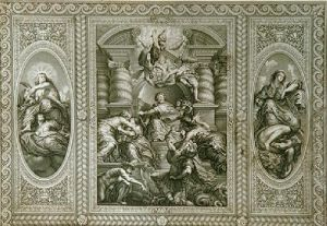 Whitehall Ceilings Pl.I (Restrike Etching) by Peter Paul Rubens