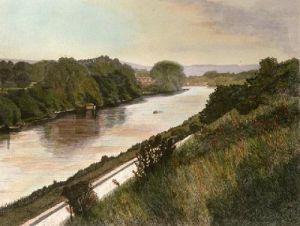 Thames at Pangbourne (Restrike Etching) by F Hunter