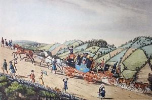 Stage Coach Travelling (Restrike Etching) by James Pollard