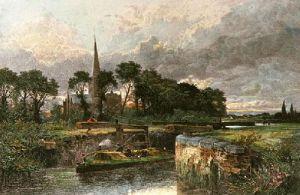 Stratford Lock (Restrike Etching) by Benjamin Williams Leader