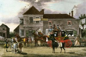 Mail Coach Changing Horses (Restrike Etching) by James Pollard