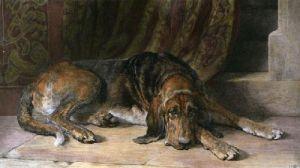 Sentinel (Bloodhound) (Restrike Etching) by Herbert Thomas Dicksee