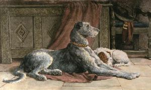 Patience (Deerhound) (Restrike Etching) by Herbert Thomas Dicksee