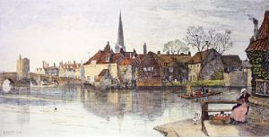 St. Ives (Huntingdon) (Restrike Etching) by Charles Edward Holloway