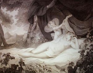 Cupid Unveiling Venus (Restrike Etching) by Francis Wheatley
