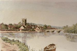Henley on Thames (With bridge) (Restrike Etching) by Angley