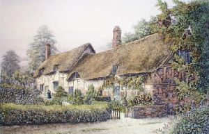 Ann Hathaway's Cottage (Large) (Restrike Etching) by J. R. Hutchinson