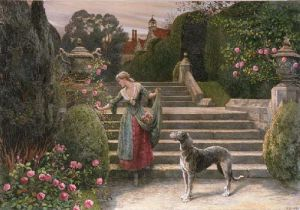 The Old Garden (Restrike Etching) by Herbert Thomas Dicksee