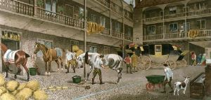 Old Inn Yard (Restrike Etching) by TNH Walsh