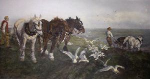 Ploughing on the South Coast (Restrike Etching) by Lucy Kemp-Welch