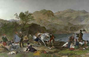 Crossing a Highland Loch (Restrike Etching) by Jacob Thompson
