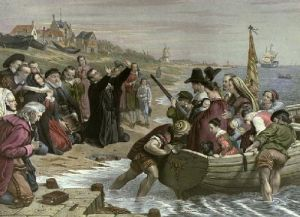 Depart.Pilgrim Fathers: Delft (Restrike Etching) by Charles West Cope