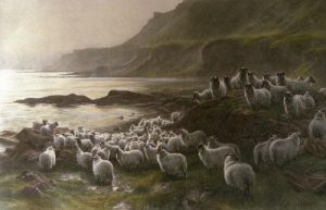 Down to the Ferry (Sheep) (Restrike Etching) by Joseph Farquharson