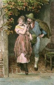 Wheedling (Restrike Etching) by Eugene von Blaas