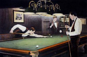 The Billiards Room (Restrike Etching) by Terence Gilbert