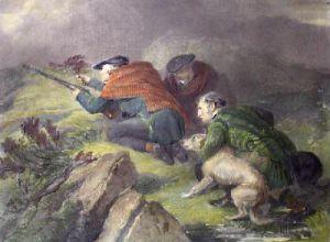 Waiting for Deer to Rise (Restrike Etching) by Sir Edwin Henry Landseer