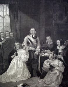 Cromwells family interceding (Restrike Etching) by William Fisk