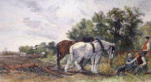 Ploughmans Rest (Restrike Etching) by W.H. Pigott