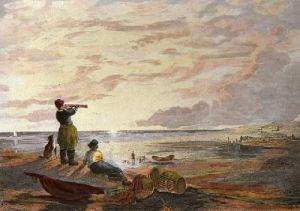 Fishermen on the Lookout (Restrike Etching) by William Collins