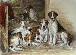 Hounds (Restrike Etching) by John Emms