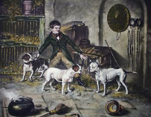 Jem Burn's Pets (Restrike Etching) by James W. Booth