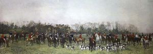 Lawn Meet at Aske (Restrike Etching) by Heywood Hardy