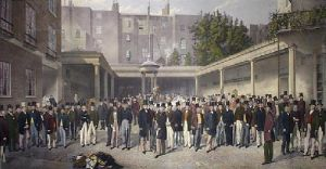 Yard At Tattersalls (Restrike Etching) by Thomas Musgrove Joy