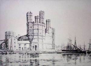 Caernarvon Castle (Restrike Etching) by Graham Clilverd