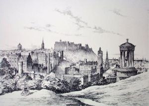 Edinburgh Castle (Restrike Etching) by Anonymous