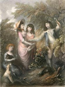 Charles Marsham & Sisters (Restrike Etching) by Thomas Gainsborough