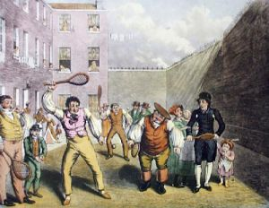 Rackets Kings Bench (Restrike Etching) by Theodore Lane