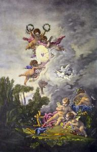 Cupid's Target from 'Les Amours des Dieux' 1758 (Restrike Etching) by Francois Boucher