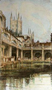 Bath Abbey & Baths (Restrike Etching) by Anonymous