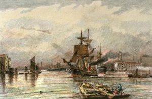 Limehouse Reach (Restrike Etching) by Robert Ernest Roe