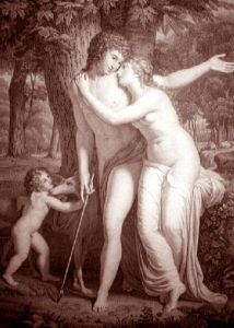 Venus Dissuading Adonis (Restrike Etching) by Albano