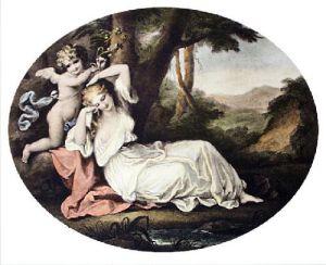 Cupid Binding Aglaia (Restrike Etching) by Angelica Kauffmann