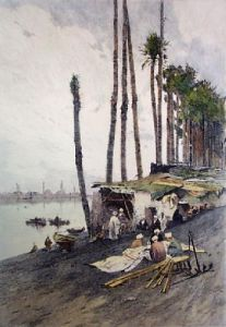 On the Banks of the Nile (Restrike Etching) by Anonymous