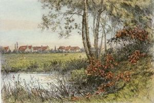 Village Through the Willows (Restrike Etching) by Robinson