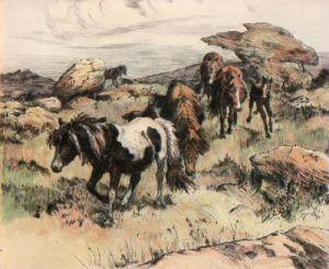 Ponies (Restrike Etching) by Winifred Austen