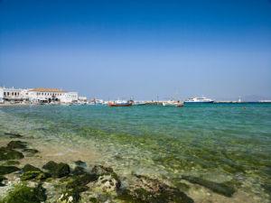 Mykonos, Greece Cyclades, Boats by beach by Assaf Frank