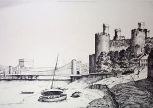 Conway Castle (Restrike Etching) by Anonymous
