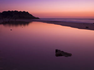 Sunset reflection in water, Palmachim Beach, Israel by Assaf Frank