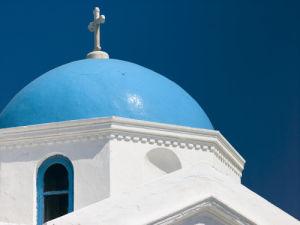 Greece, Mykonos Island. low angle view of church by Assaf Frank