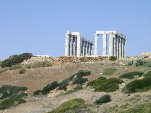Old pillars of the Temple of Poseidon, Greece by Assaf Frank