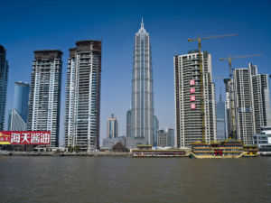 A row of skyscrapers, Shanghai by Assaf Frank
