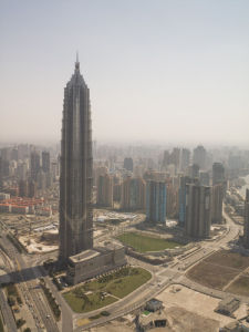 Aerial view of jinmao tower, Shanghai by Assaf Frank
