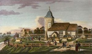 St Pancras Church: South View (Restrike Etching) by Anonymous