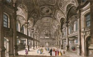St Martins in the Fields (Interior) (Restrike Etching) by Thomas Bowles